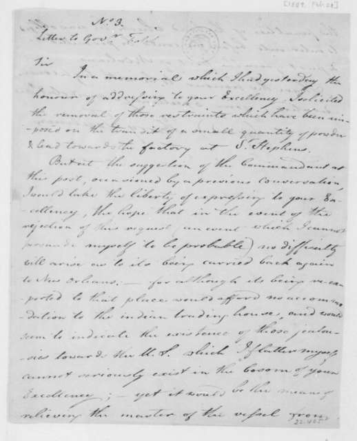 Henry Toulmin to Gov. V. Folch, February 21, 1809. Includes petition regarding the Mississippi Territory.