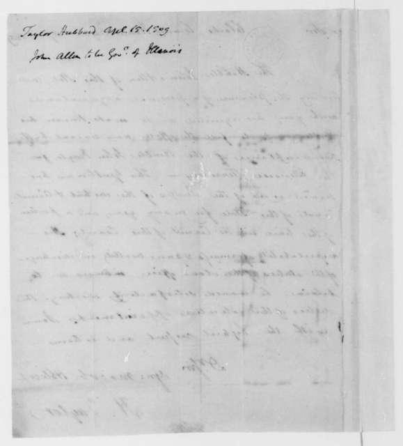 Hubbard Taylor to James Madison, April 15, 1809.