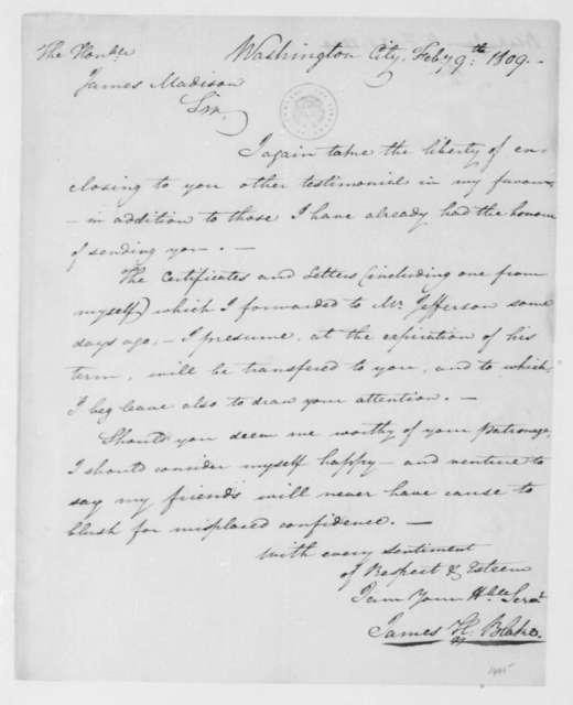 James H. Blake to James Madison, February 9, 1809.