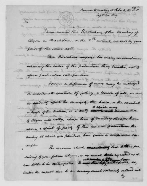 James Madison to David Ramsey, September 20, 1809. Address to David Ramsey and the citizens of Charleston South Carolina.