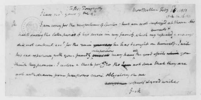 James Madison to Joseph Dougherty, February 16, 1819.
