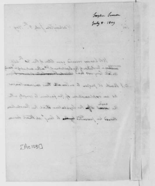 James Madison to Simon Snyder, July 8, 1809.