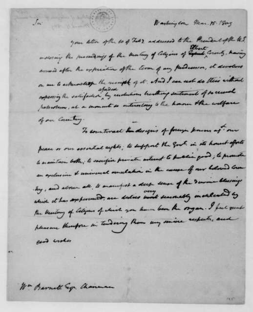James Madison to William Barnett, March 15, 1809.