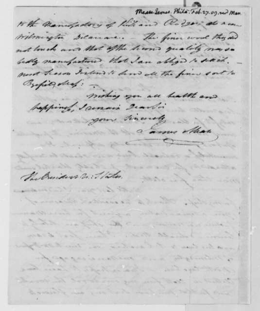 James Mease to Thomas Jefferson, February 27, 1809