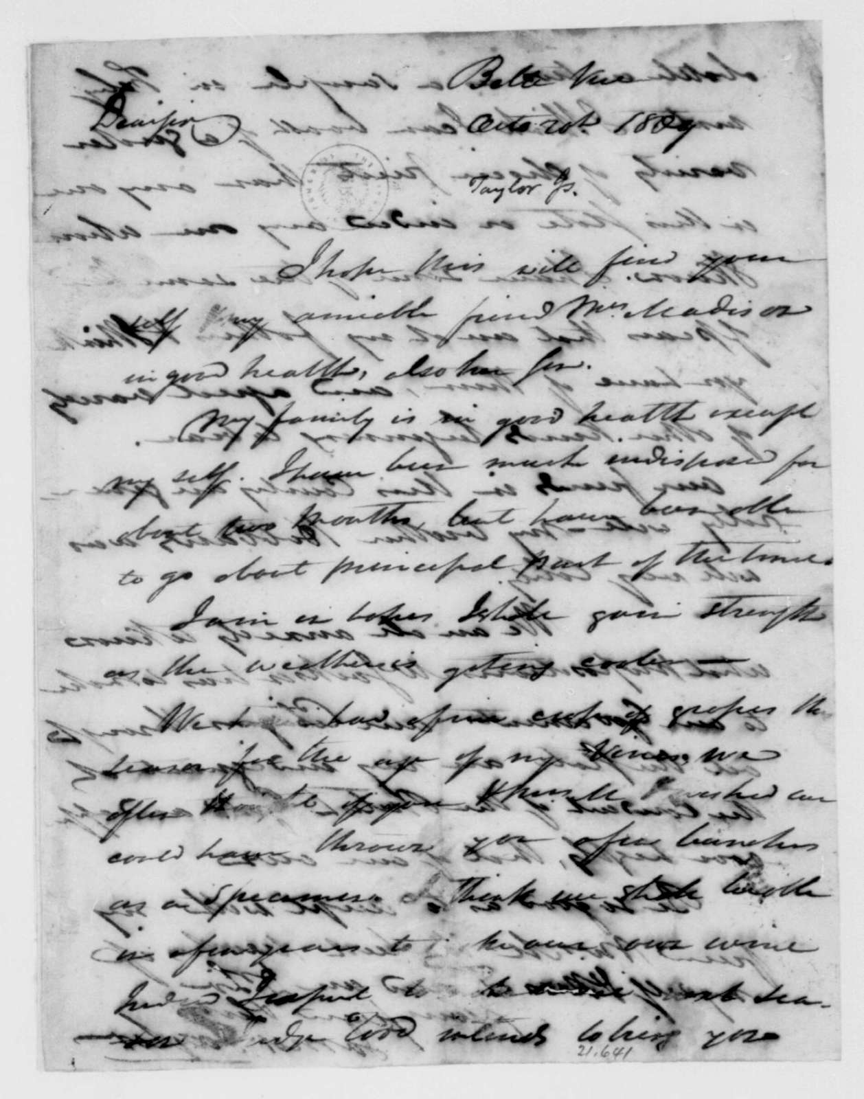 James Taylor to James Madison, October 20, 1809.
