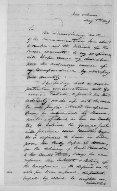 James Wilkinson to James Madison, May 1, 1809.