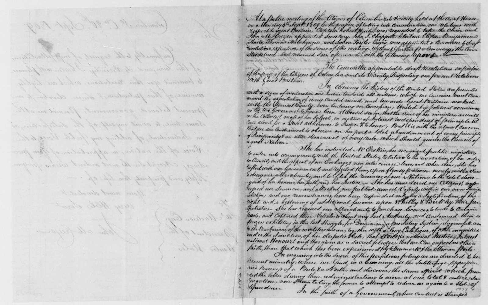 John M. Creyon to James Madison, September 20, 1809. Includes resolutions from Columbia South Carolina Citizens.