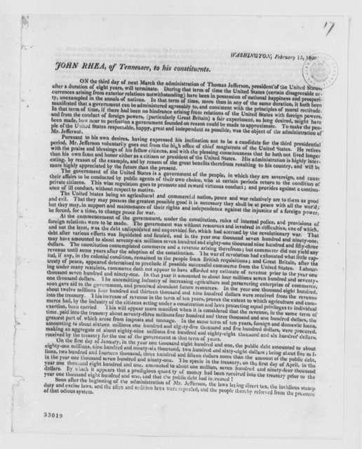 John Rhea to Constitutents, February 13, 1809, Printed Circular