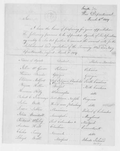 John Smith to James Madison, March 6, 1809.