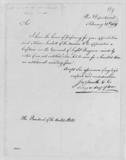 John Smith to Thomas Jefferson, February 20, 1809