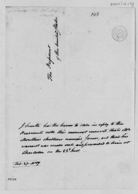 John Smith to Thomas Jefferson, February 27, 1809