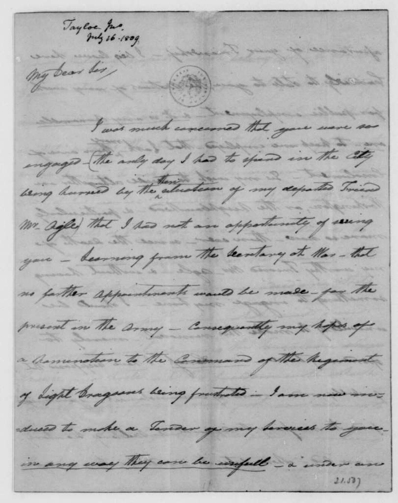 John Taylor to James Madison, July 16, 1809.