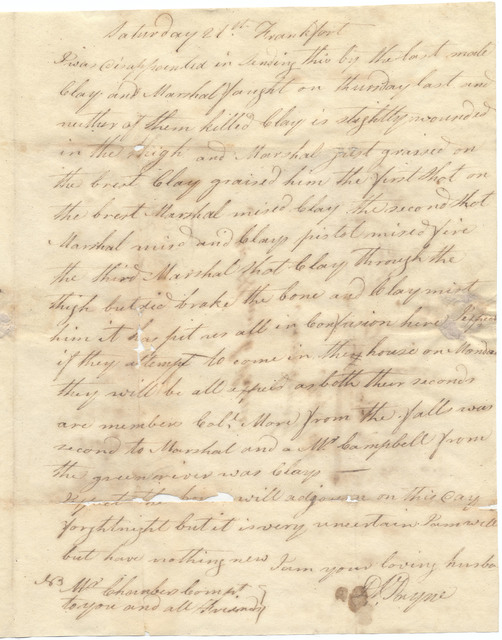 Letters from Devall Payne to Hannah Payne