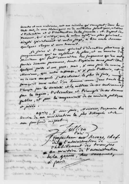 Marc Antoine Julien to Thomas Jefferson, November 15, 1809, in French
