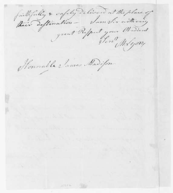 Matthew Lyon to James Madison, January 24, 1809.