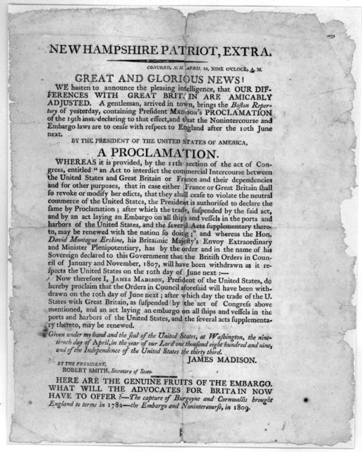 New Hampshire Patriot, Extra. Concord N.H. April 26, Nine o'clock. Great and glorious news! We hasten to announce the pleasing intelligence, that our difference with Great-Britain are amicably adjusted. A gentlemen, arrived in town, brings the B