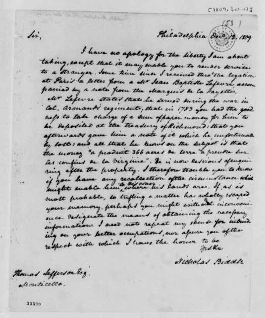 Nicholas Biddle to Thomas Jefferson, December 12, 1809