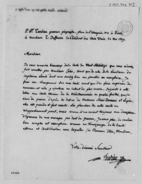 Pierre Francois Tardieu to Thomas Jefferson, May 30, 1809, in French