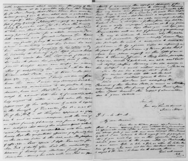 Rebecca Blodget to James Madison, March 11, 1809. Includes postscript to Dolley P. Madison.