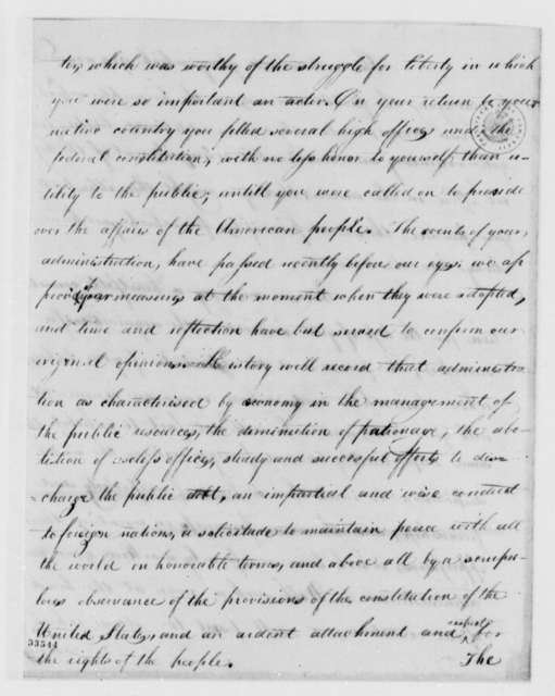 Richmond, Virginia, Citizens to Thomas Jefferson, October 21, 1809, Welcome Address