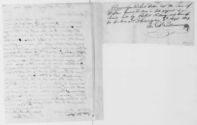 Robert Patton to Dolley Payne Madison, September 19, 1809. Includes receipt of Aug 4, 1809.