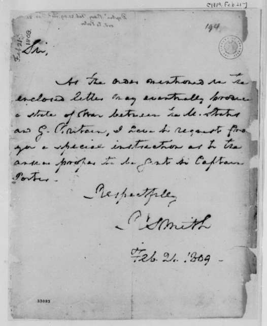 Robert Smith to Thomas Jefferson, February 21, 1809