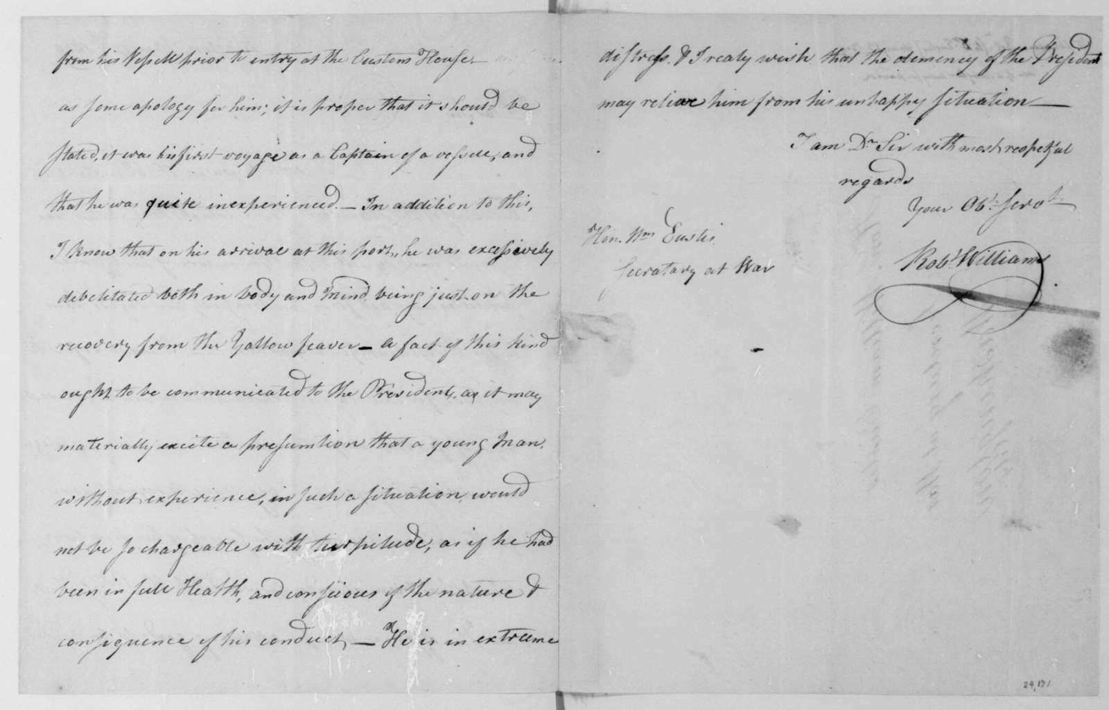 Robert Williams to William Eustis, May 12, 1809.