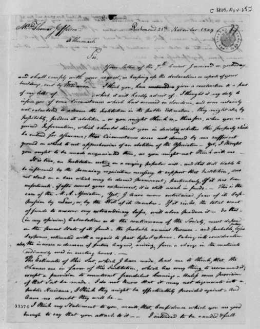 Samuel Greenhow to Thomas Jefferson, November 25, 1809