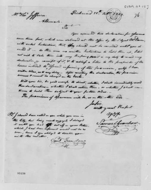 Samuel Greenhow to Thomas Jefferson, October 25, 1809, with Account