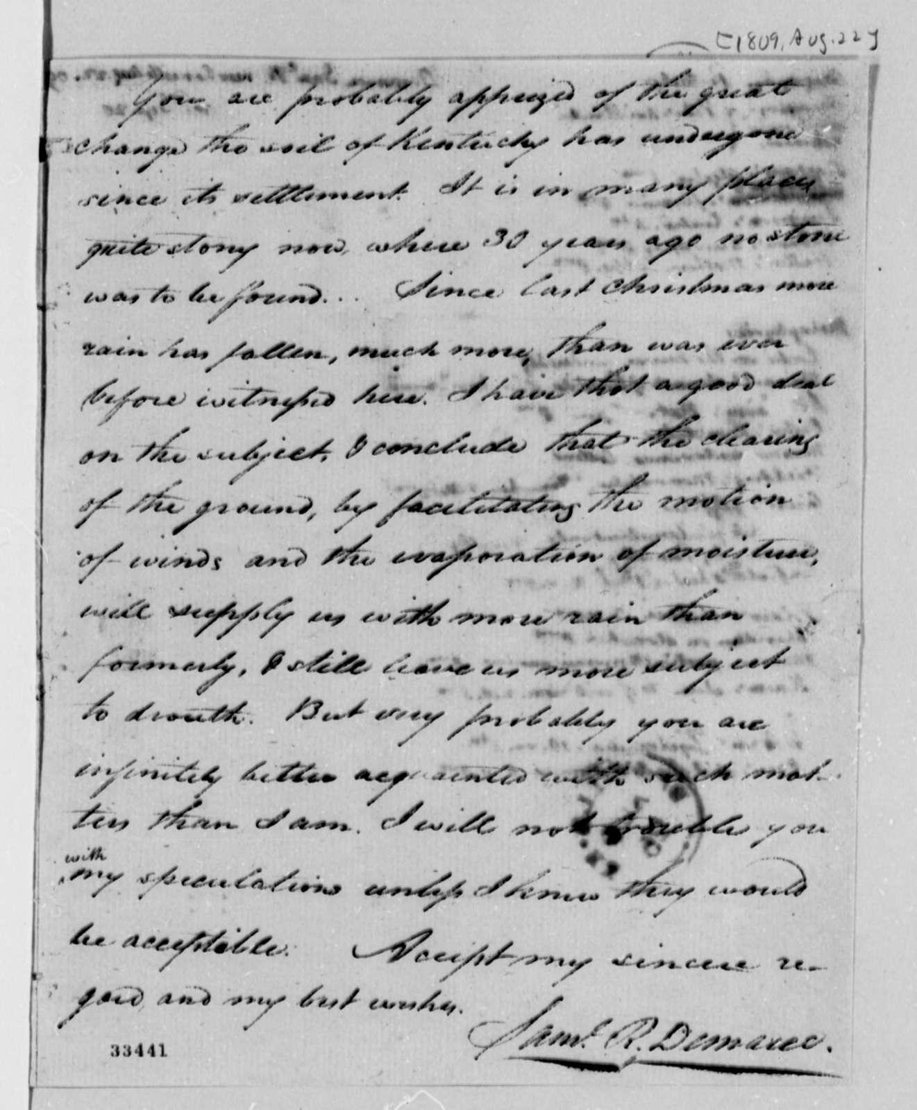 Samuel R. Demaree to Thomas Jefferson, August 22, 1809, with Thomas Jefferson List