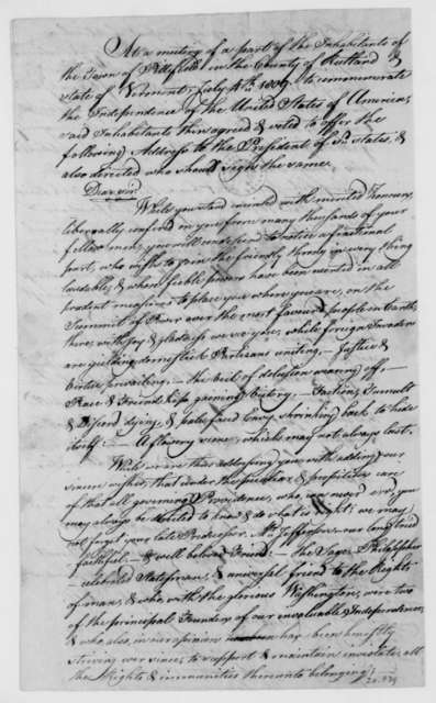 Sprout and other Pittsfield Vermont Citizens to James Madison, July 4, 1809. Address.