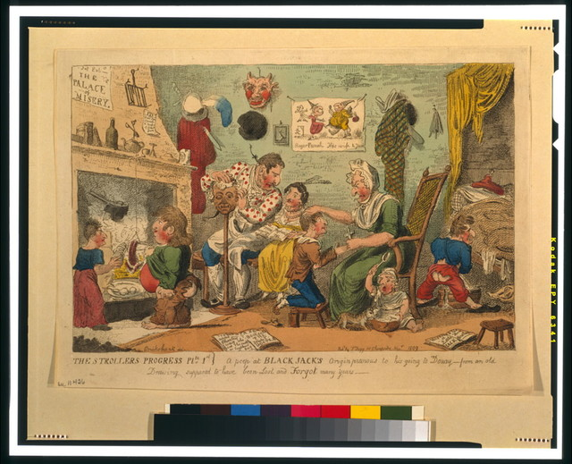 The strollers progress plte 1st. A peep at Black Jack's origin previous to his going to Douay [...] / Cruikshank, invt.