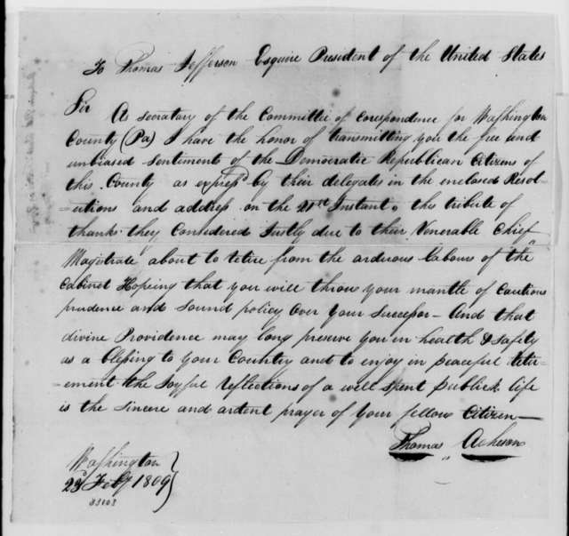 Thomas Acheson to Thomas Jefferson, February 23, 1809