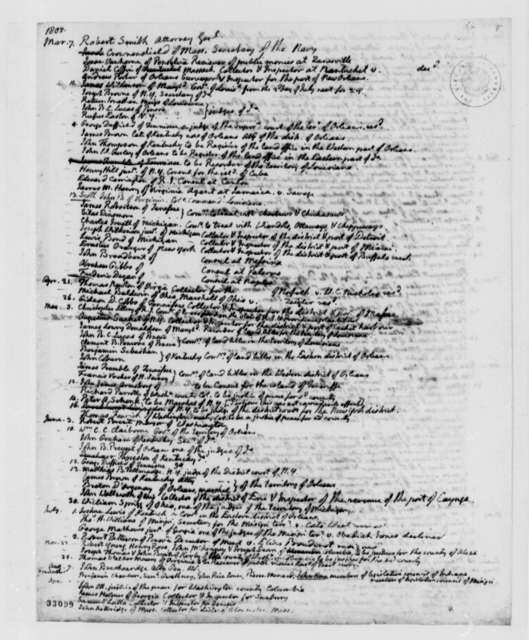 Thomas Jefferson, February 23, 1809, List of Appointments and Comments