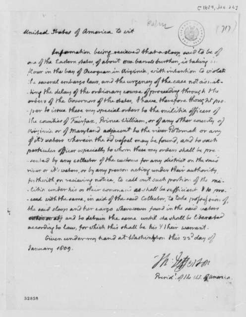 Thomas Jefferson, January 22, 1809, Proclamation on Embargo Laws for Virginia and Maryland