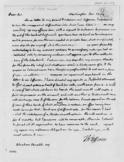 Thomas Jefferson to Abraham B. Venable, January 23, 1809