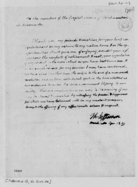 Thomas Jefferson to Albemarle County, Virginia, Baptist Church, April 13, 1809
