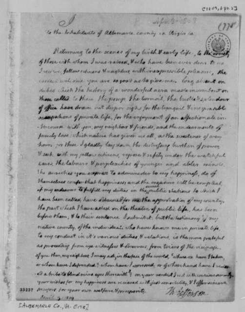 Thomas Jefferson to Albemarle County, Virginia, Citizens, April 3, 1809
