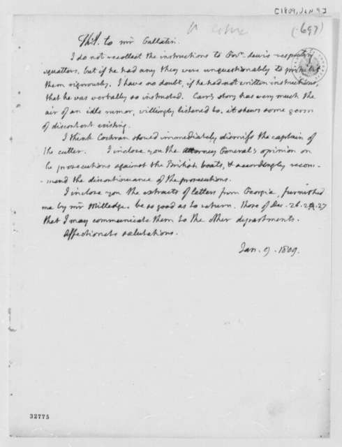 Thomas Jefferson to Albert Gallatin, January 9, 1809