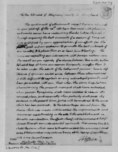 Thomas Jefferson to Allegany County, Maryland, Citizens, March 31, 1809