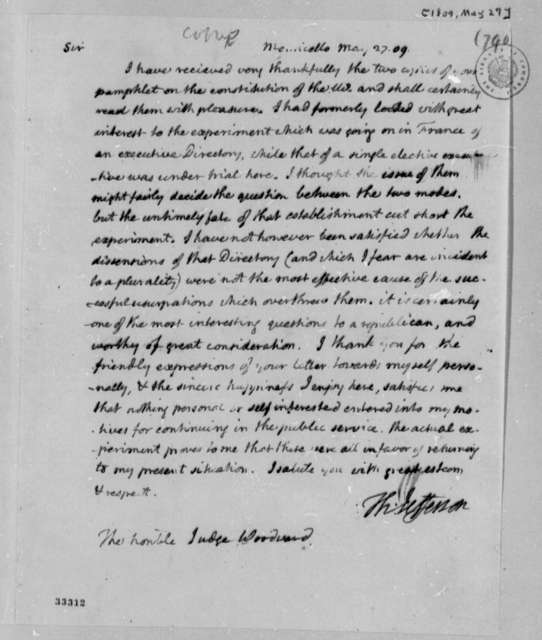 Thomas Jefferson to Augustus B. Woodward, May 27, 1809