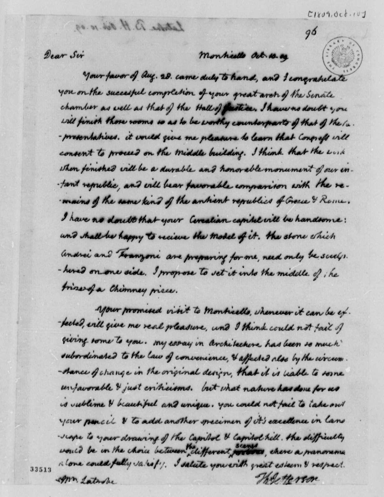 Thomas Jefferson to Benjamin H. Latrobe, October 10, 1809