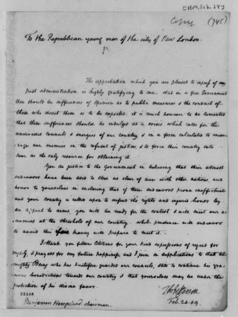 Thomas Jefferson to Benjamin Hempstead, February 24, 1809