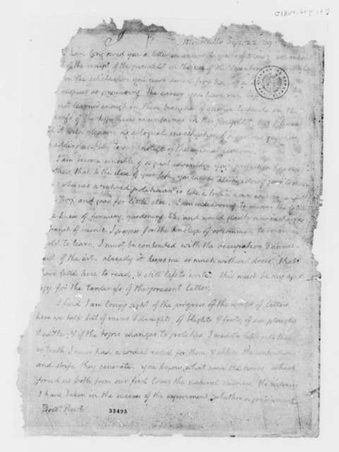 Thomas Jefferson to Benjamin Rush, September 22, 1809, Mutilated Fragment