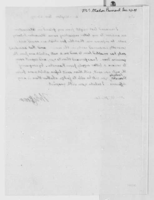 Thomas Jefferson to Bernard McMahon, January 27, 1809