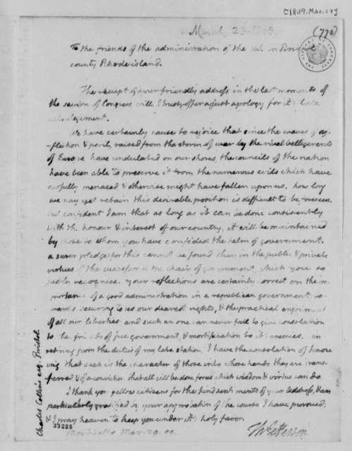 Thomas Jefferson to Bristol, Rhode Island, Citizens, March 29, 1809