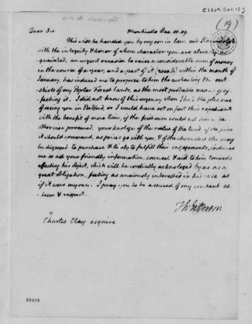 Thomas Jefferson to Charles Clay, December 15, 1809
