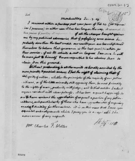 Thomas Jefferson to Charles F. Welles, December 3, 1809