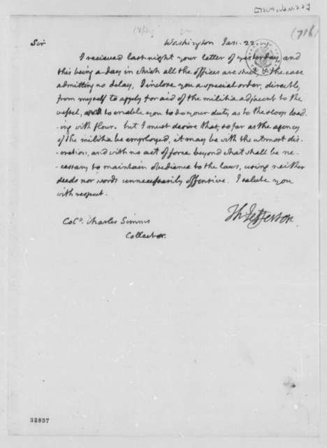 Thomas Jefferson to Charles Simms, January 22, 1809