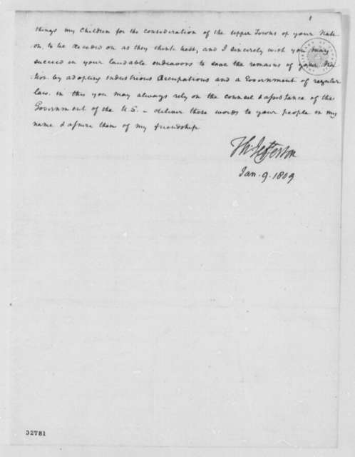 Thomas Jefferson to Cherokee Deputies, January 9, 1809